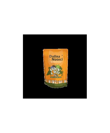 Dolina Noteci Superfood - karma bezzbożowa dla kota. Z kaczką i wołowiną. Wspomaga odporność. Z tauryną. 85g.