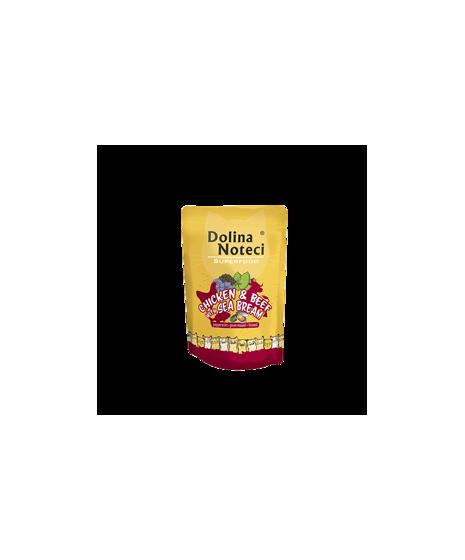 Dolina Noteci Superfood - karma bezzbożowa dla kota. Z kurczakiem, wołowiną z doradą. Wspiera odporność. Z tauryną. 85g.