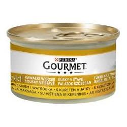 Gourmet Gold puszeczka dla kota 85g w kawałkach w sosie - mokra karma z kurczakiem i wątróbką.. Super jakość, super smak.