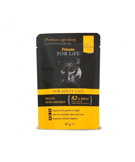 FITMIN - mokra karma dla kota w saszetce. Fileciki z kurczakiem w sosie. 85g.