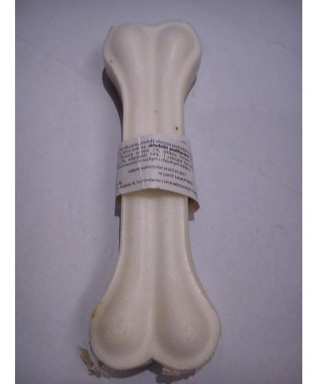 Kość prasowana biała ze skóry dla psa. 16,5cm. Dla dłuższego żucia. Podawana regularnie czyści zęby.