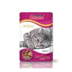 Saszetka dla kota BENEK -Pełnowartościowa karma dla dorosłych kotów z kurczakiem 100g.