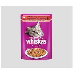 Saszetka dla kota WHISKAS 100g z wołowiną - mokra karma w sosie.