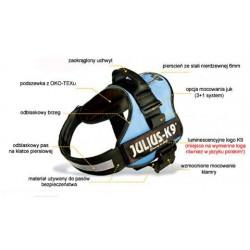Szelki JULIUS ergonomiczne, wyjątkowo wytrzymałe, w pełni regulowane przy klatce i brzuchu 58-76cm.